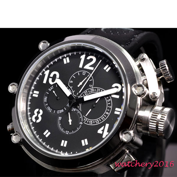 50mm parnis black dial Stainless Steel Case Big Face Day Date Indicator leather strap multifunction automatic mens wristwatch