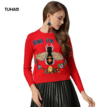 2017 Floral Bee Embroidery Sweaters Women Tops Sequined Letters Casual Pullovers Christmas Sweater Pull Femme TG5228