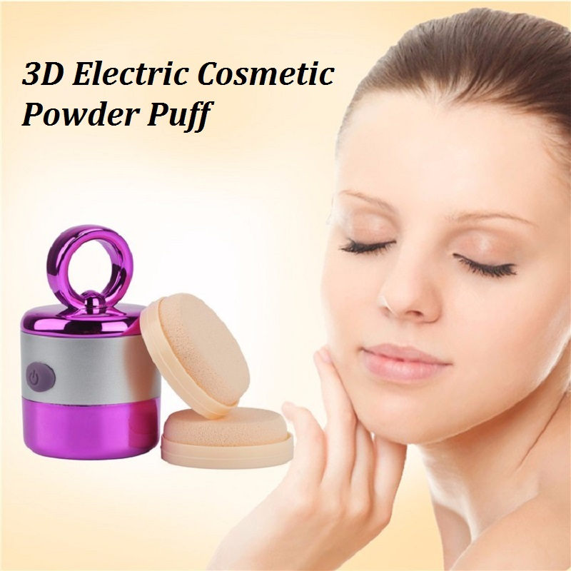 2017 New Electric Cosmetic Powder Puff Vibration Smart Foundation Face Powder Sponge Vibrator Makeup Beauty Vibrate Massage Tool candy color calabash shaped cosmetic makeup cotton pads sponge puff pink