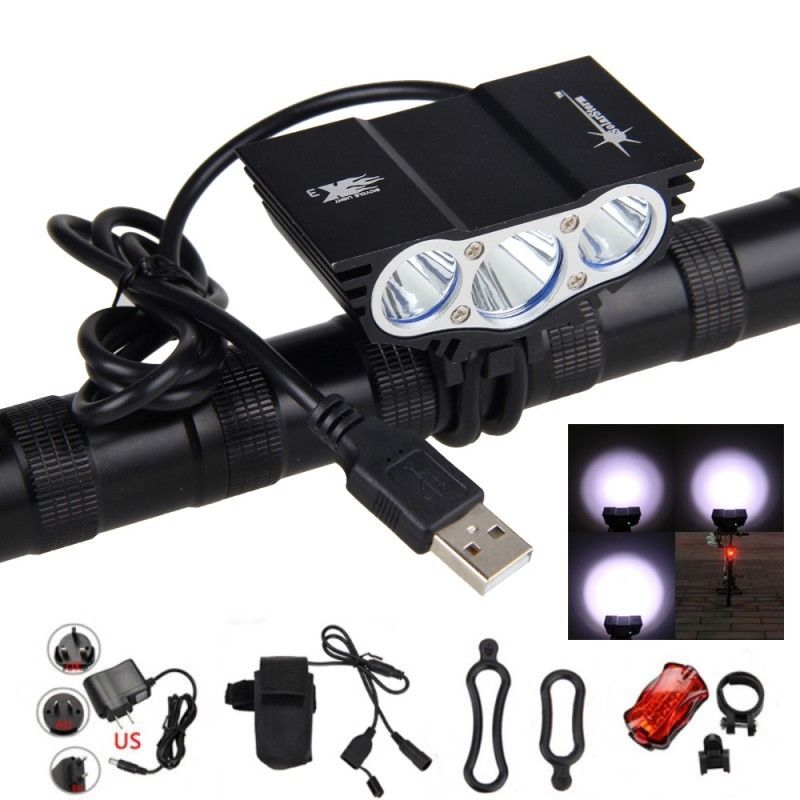 LED Bike Light USB Rechargeable 8000LM XM-L 3x T6 LED Bicycle Light Cycle Lamps Torch Headlight + 4x18650 Battery Pack+Charger 6000lm 3x xm l t6 white 2r5 red led headlamp bike bicycle head light torch headlight lampe frontale ac charger 2x18650 battery
