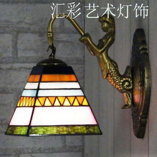 Tiffany Egyptian Style Mirror Lights Bedroom Bedside Lamp Creative Personality Mermaid Wall Corridor Hallway Stairs