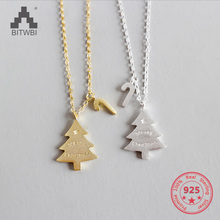 100% S925 Sterling Silver Christmas Tree Pendant Necklace Charms Fashion Jewelry Gift For Women silverhoo aurora pendant necklace halo crystal gem s925 sterling silver fashion necklace women s elegant engagement