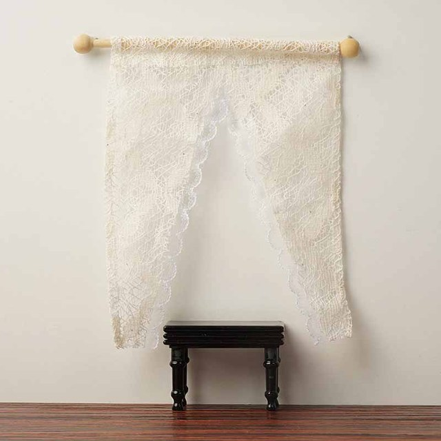 Miniature Doll House Lace Triangular Curtains