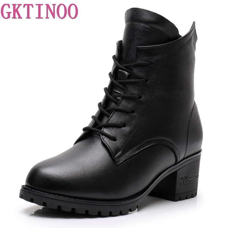 GKTINOO 2019 high quality genuine leather boots women lace up winter plush ankle boots for women platform high heels bootsGKTINOO 2019 high quality genuine leather boots women lace up winter plush ankle boots for women platform high heels boots