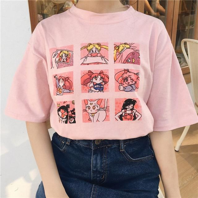 קיץ נשים של אופנה גדול גודל מזדמן Harajuku קריקטורה אותיות ulzzang סיילור ירח קצר שרוול מצחיק חצי חולצה