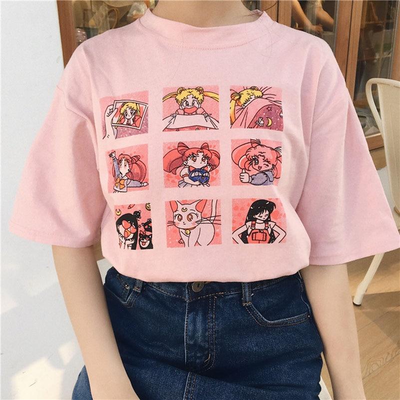 100% Wahr Sommer Frauen Mode Große Größe Casual Harajuku Cartoon Buchstaben Ulzzang Sailor Mond Kurzarm Lustige Hälfte T-shirt