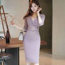autumn dress women workout korean style fashion female long sleeve bandage dresses vestidos robe femme sweater dress office