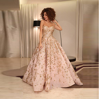 Robe De Soiree 2017 Myriam Fares Lebanon Singer Gowns Pink Shiny Crystal Beaded Long Evening Dresses