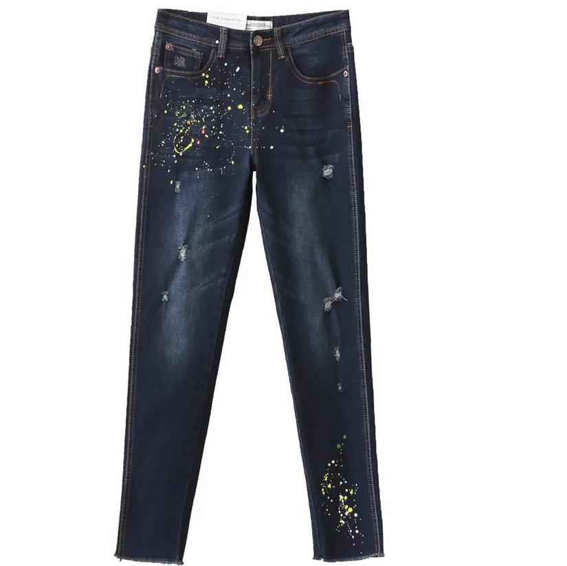 Europe and the United States fashion brand paint point ink-piercing denim pencil cotton pants trousers leisure jeans w1926 hanlu europe and the united states women s super elastic lace lvkong denim trousers fashion comfortable feet pants