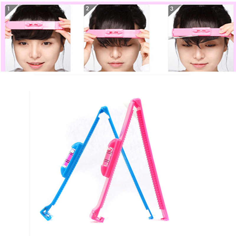 Women Hair Trimmer Fringe Cut Tool Clipper Comb Guide for Cute Hair Bang blue pink Level Ruler Hair Accessories for hair bangs