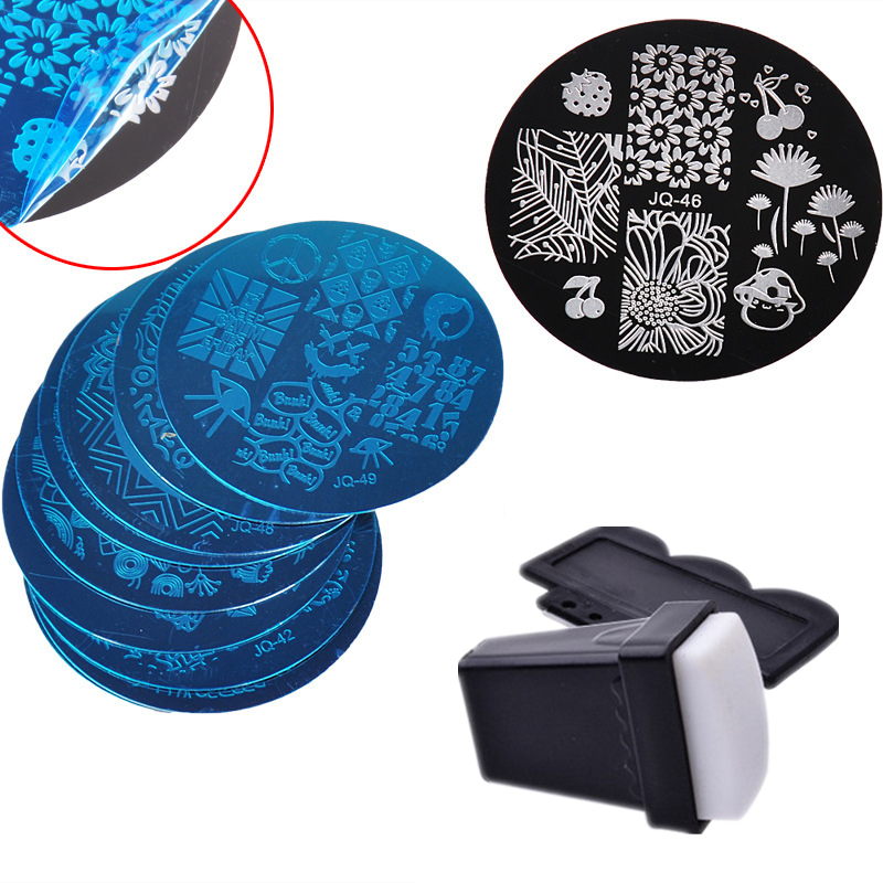 10pcs/set Nail Stickers Template Nail Stamp Plate Tool With 1pcs Sponge Nail Art Stamper 1pcs Scraper 10pcs nail art stamping printing skull style stainless steel stamp for diy manicure template stencils jh461 10pcs