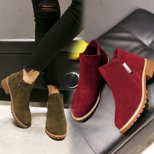 ใหม่ Martin Boots 2018 ฤดูใบไม้ร่วงผู้หญิงฤดูหนาวรองเท้าคลาสสิกรองเท้า Zipper บู๊ทส์หิมะรองเท้าบูทข้อเท้า botas mujer Y202