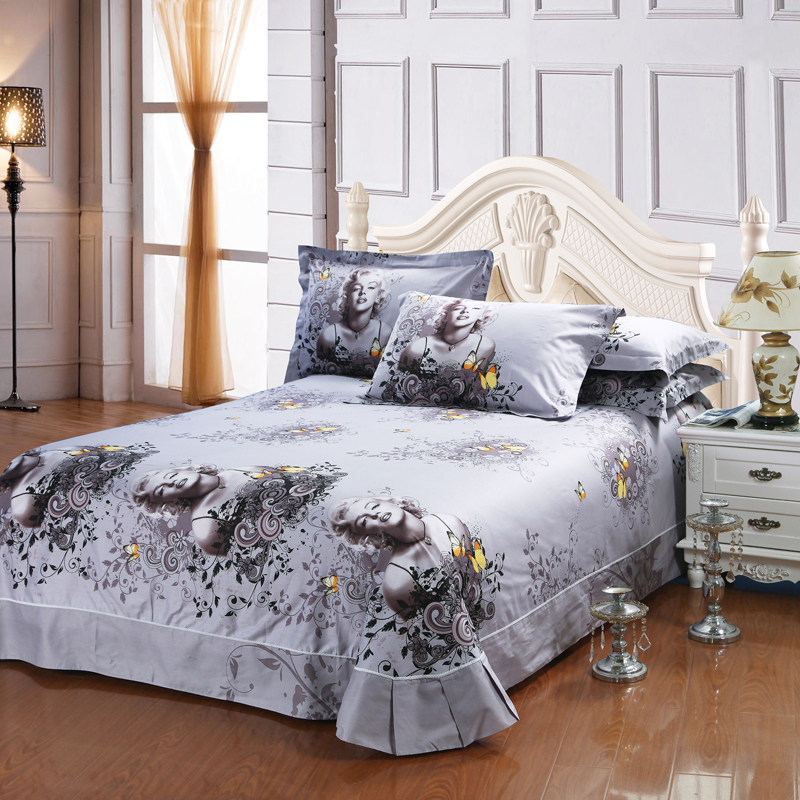 100% Cotton 3D Sexy Marilyn Monroe Fabric Grey Bedding Set Comforter Cover  Pillowcase Bed Sheet Queen Size Bedroom Set For Adult In Bedding Sets From  Home ...