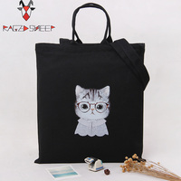 Raged Sheep Fashion Cotton Grocery Tote Shopping Bags Folding Shopping Cart Eco Grab Bag Cute