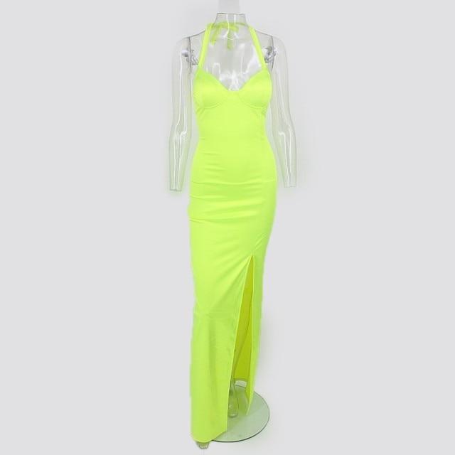 Synthetic Leather Halter Split Bodycon Kim Kardashian Outfit Dress 5