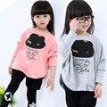 2017 Весной и осенью Ребенок девушки битой рубашка комплект одежды хлопка дети с длинными рукавами маленькая шляпа две кусок костюм