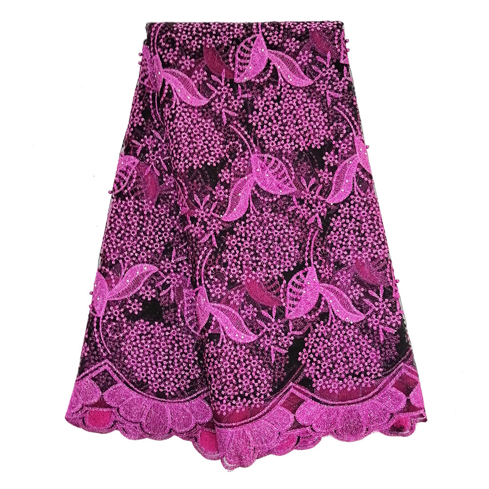 Nigerian Lace Fabric 2019 High Quality Lace Embroidered Beads Fabrics Lace for Women Fushia Black French Mesh Lace FabricNigerian Lace Fabric 2019 High Quality Lace Embroidered Beads Fabrics Lace for Women Fushia Black French Mesh Lace Fabric