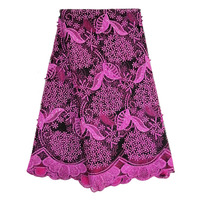 Nigerian Lace Fabric 2019 High Quality Lace Embroidered Beads Fabrics Lace for Women Fushia Black French Mesh Lace Fabric