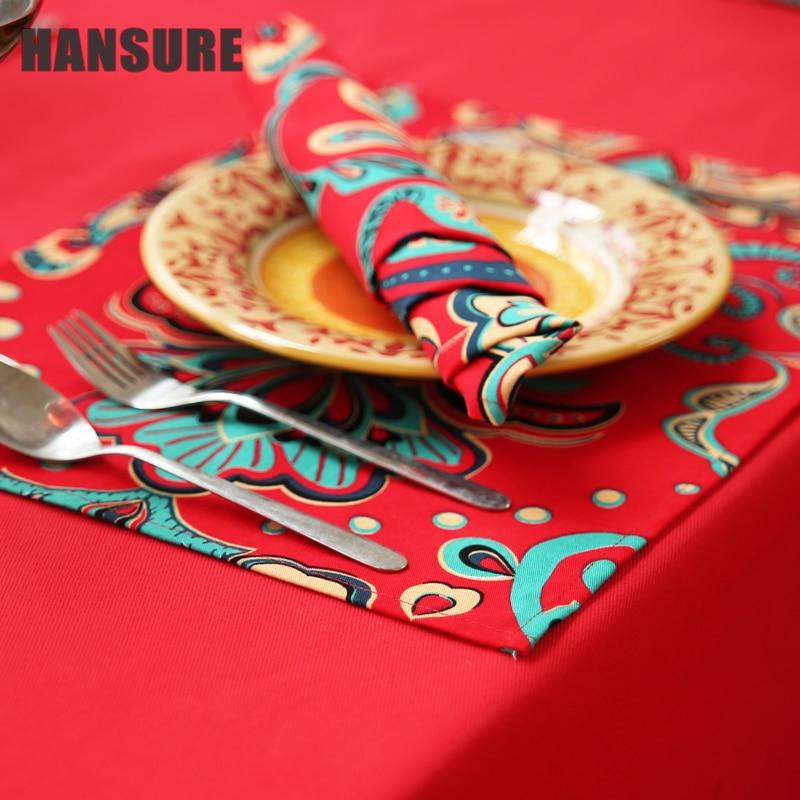HANSURE 42*42cm Printed Table Napkins for Wedding Party Table Cloth Dinner Napkin Decor Home Textile guardanapos de tecid-5017