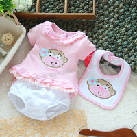 Free Shipping Retail New Arrival 2013 Summer Baby Girl Suit Kids Cartoon Short Sleeve T Shirt