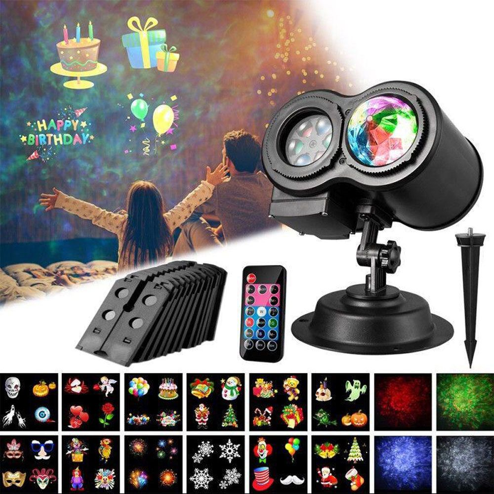 Waterproof  Decor Lights Laser Light Projector 4 Water Wave 12 Pattern Card Slides Outdoor Holiday Effect Stage Light