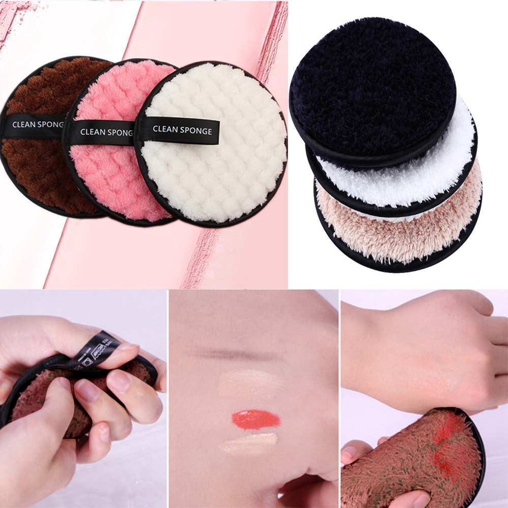 Lazy Makeup Remover Puff Pads Reusable Face Cleaning Sponge Plush Puff Towel Chemical Free Hypoallergenic Soft Facial Skin Care