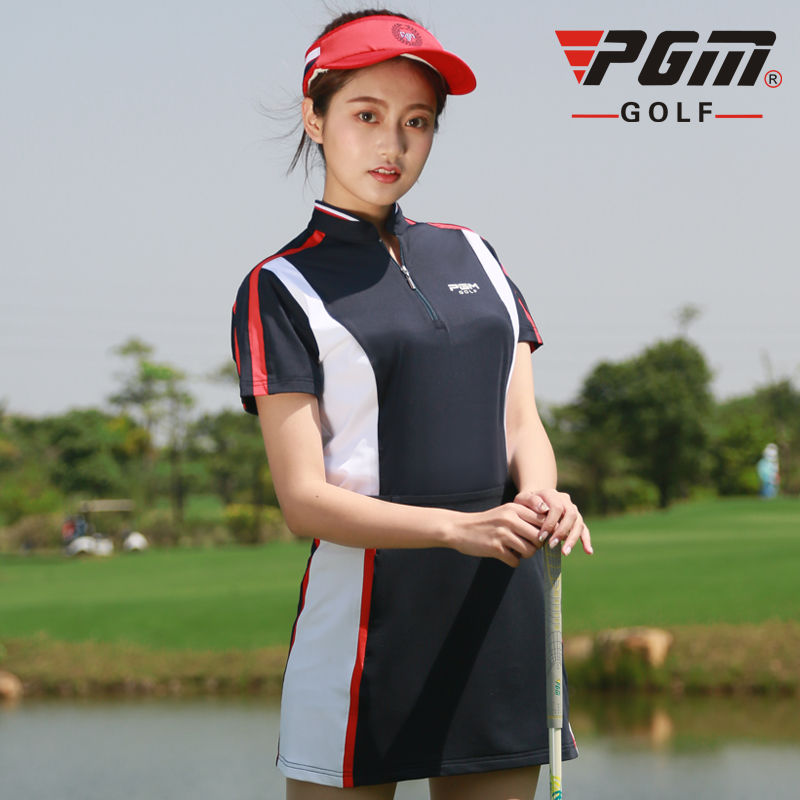 PGM spring summer golf apparel Womens breathable quick-drying stitching color zip collar short-sleeved T-shirt golf SportswearPGM spring summer golf apparel Womens breathable quick-drying stitching color zip collar short-sleeved T-shirt golf Sportswear
