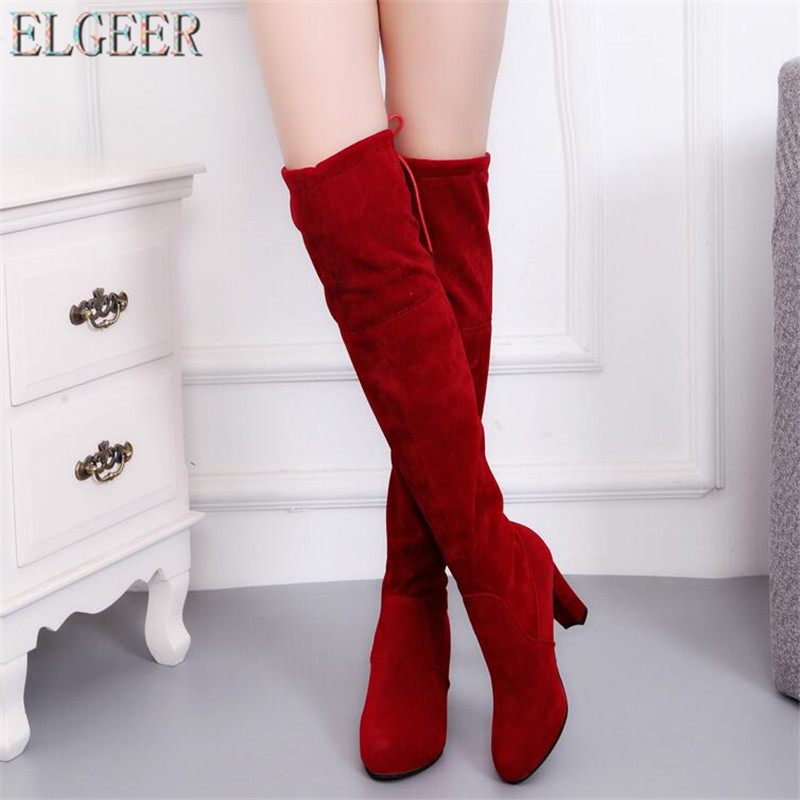 ELGEER Plus 34-41 new 2018 Female Winter Thigh High Boots Faux Suede Leather High Heels Women Over The Knee Botas Mujer Shoes лосьон лосьон trilogy 100ml