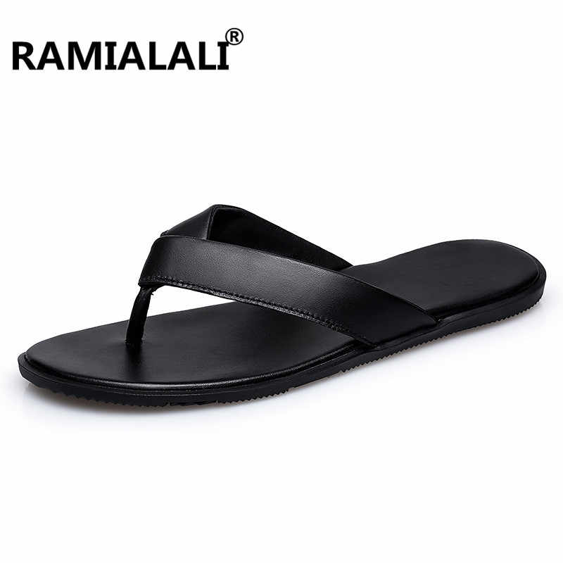 fb5210a53035 2018 Brand Summer Men Slippers Male Genuine Leather Flip Flops for Man  Vintage Casual Beach Sandals