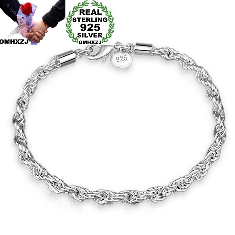 OMHXZJ Wholesale Personality Fashion OL Woman Girl Party Wedding Gift Silver Twisted Chain 925 Sterling Silver Bracelet BR132