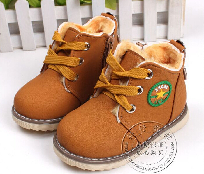 2017 new children's snow boots warm shoes for boys and girls thick cotton-padded ace-up boots comfort baby shoes Size 21-30