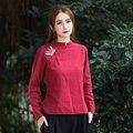 Женщины Рубашка Повседневная С Длинным Рукавом Вышитые Свободные Блузки Женская Мода Плюс Размер Осень Новый Ретро Простой Дизайн
