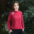 Mujeres Casual Camisa de Manga Larga Bordada Floja Blusas Moda Tallas grandes Otoño Nueva Retro Diseño Simple