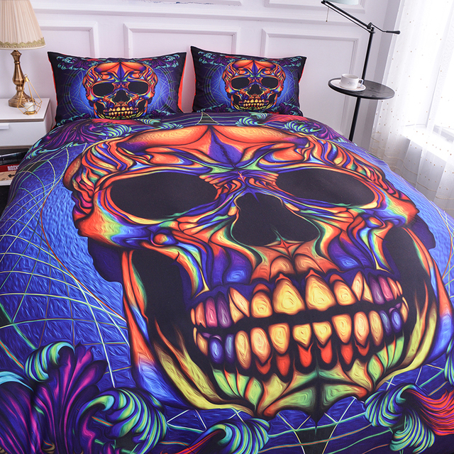 3D COLORFULL SKULL BEDDING SETS