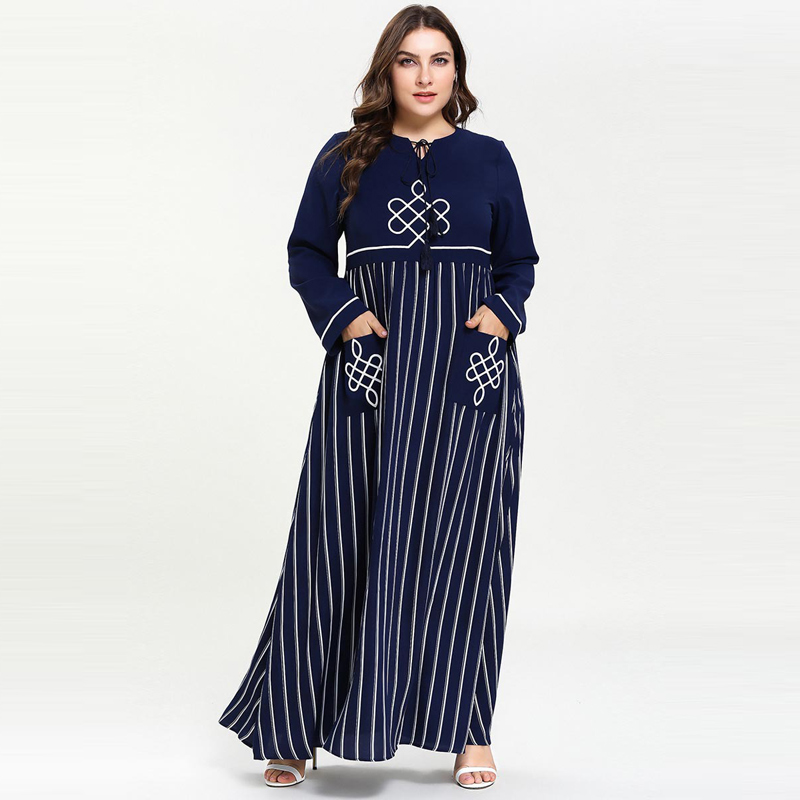 2019 Women Plus Size Muslim Dress Patchwork Kaftan Moroccan Abaya Islamic Arabic Turkey Dresses With Pockets Dark Blue M-4XL