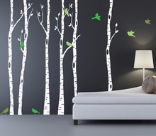 Birch Trees Wall Decal With Bird And Leaves Huge Tree Forest Wall Stickers  Decor Home Living