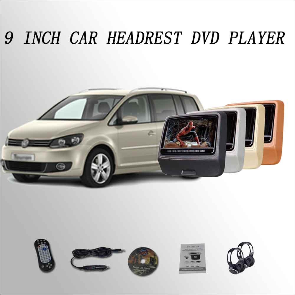 BigBigRoad For Vw Touran Car Headrest Monitor digital LCD screen 2*9 DVD player with USB SD / IR / FM SPEAKER GAME HDMI DIY