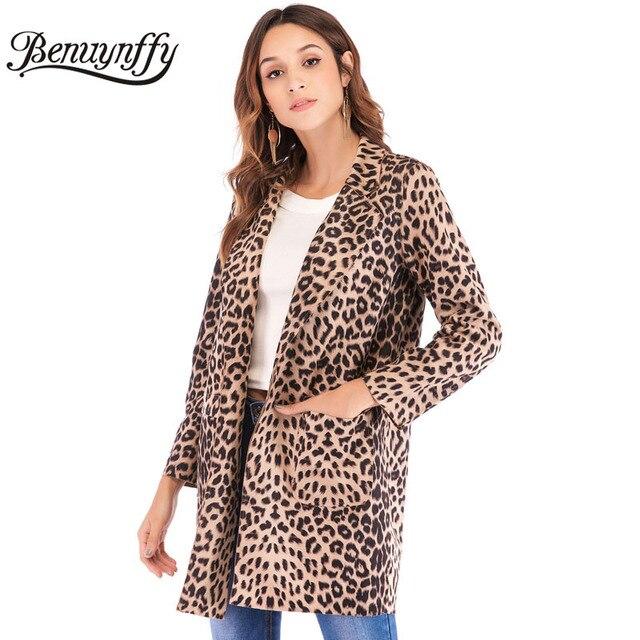a62c551e852d Benuynffy Autumn Women's Elegant Leopard Print Jacket Coat Long Sleeve Open  Front Highstreet Women Casual Notched Collar Outwear
