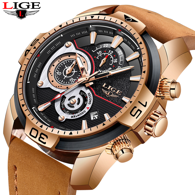 цены на New LIGE Mens Watches Top Brand Luxury Men Military Sport Watch Men Large Dial Leather Waterproof Quartz Clock relogio masculino