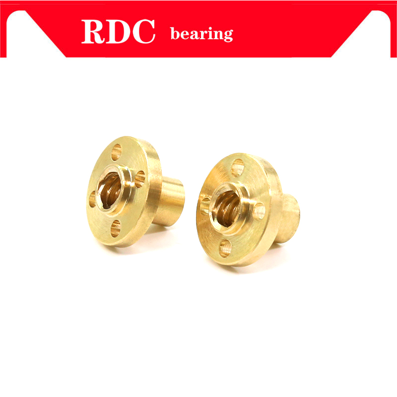 HOT T6 Nut Trapezoidal Screw Nut Brass Copper Nut Lead 1mm 2mm 4mm 6mm 12mm 1pcs