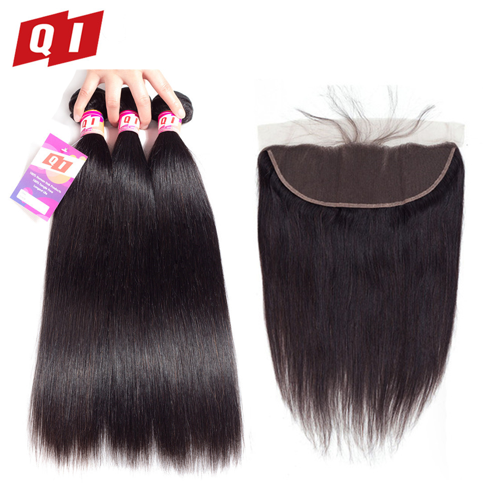 Hair Extensions & Wigs Qlove Hair 4 Bundles With 4*4 Lace Frontal Closure 100% Non Remy Human Hair Indian Kinky Curly Natural Color Hair