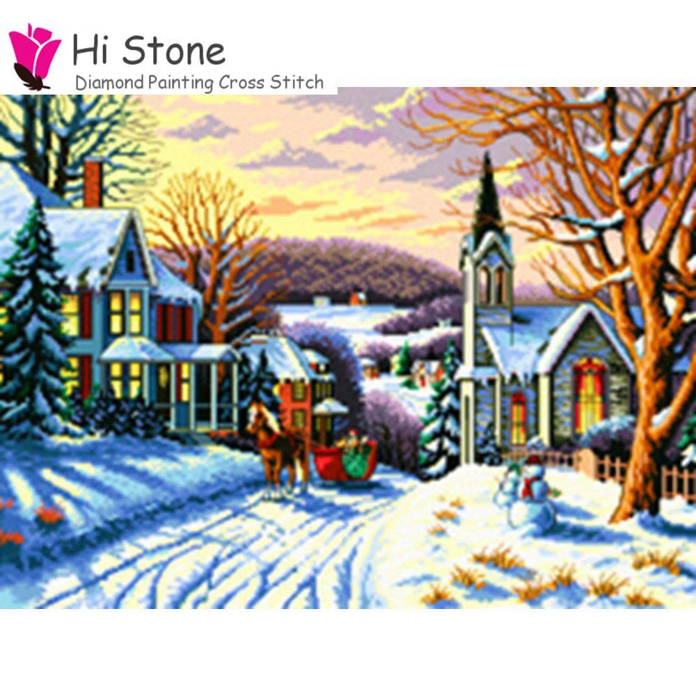 Новый 5D снег дом, декорации алмазов картина вышивки крестом DIY мозаика ручной работы подарок на Новый год Алмазная вышивка Рождественский Д...