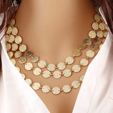 Bijoux Femme Collier Gold Silver สี Multilayer Sequins Statement Chokers สร้อยคอผู้หญิง Choker Boho (China)