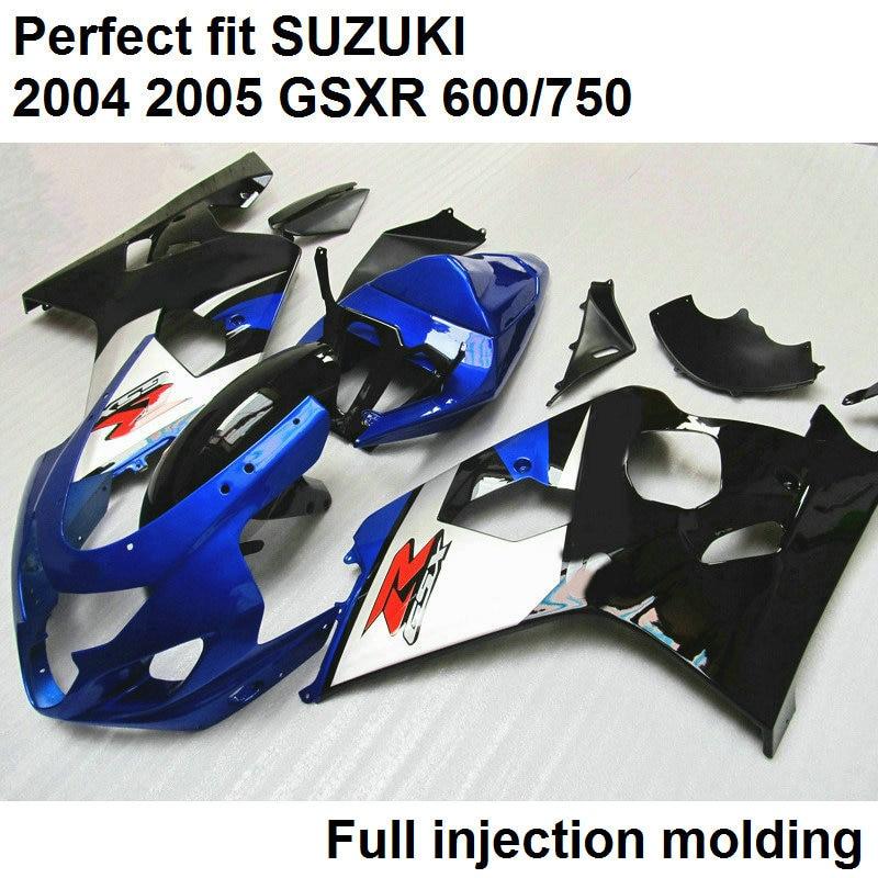 Hot sale fairings for Suzuki injection molding GSXR600 K5 2004 2005 glossy blue white black fairing kit GSXR600/750 04 05 WN128