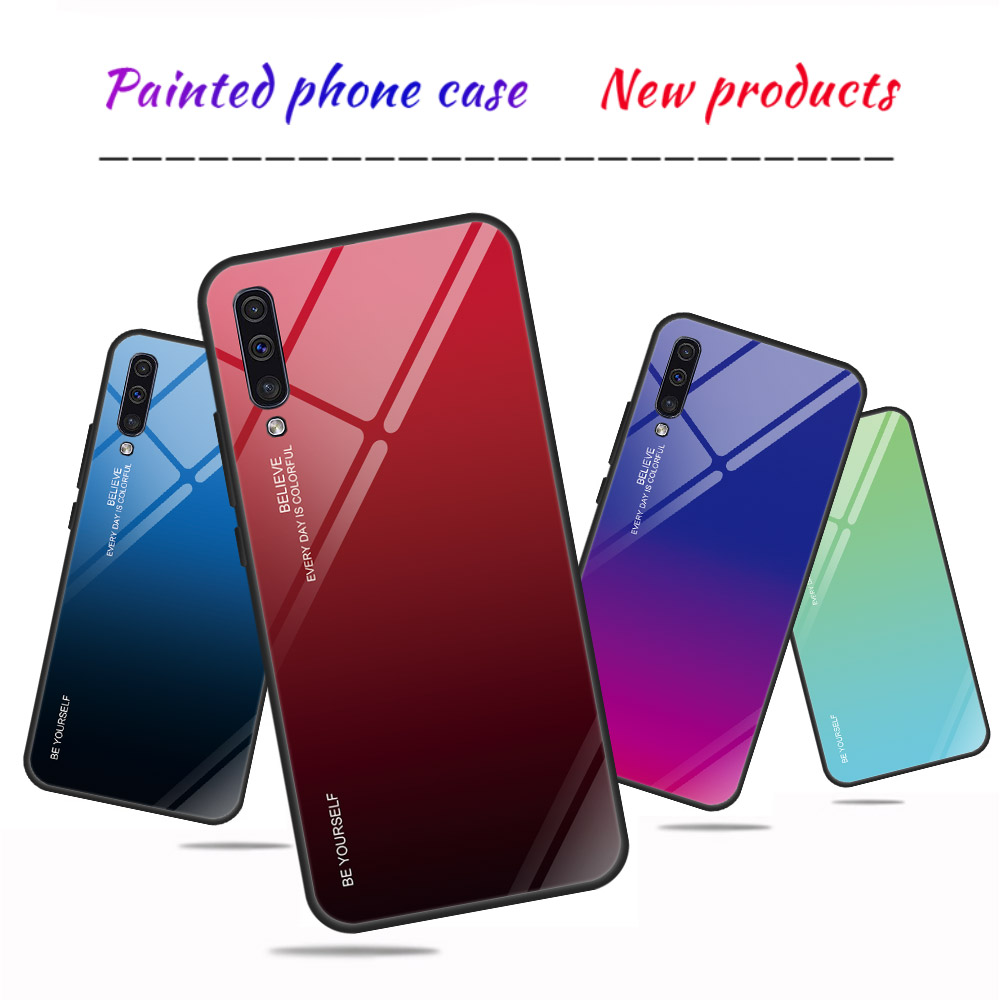 Gradient Phone Case For Samsung Galaxy A50 Case Tempered Glass Back Cover For Samsung A50 A505F A505 A 50 A505FD Fundas Coque