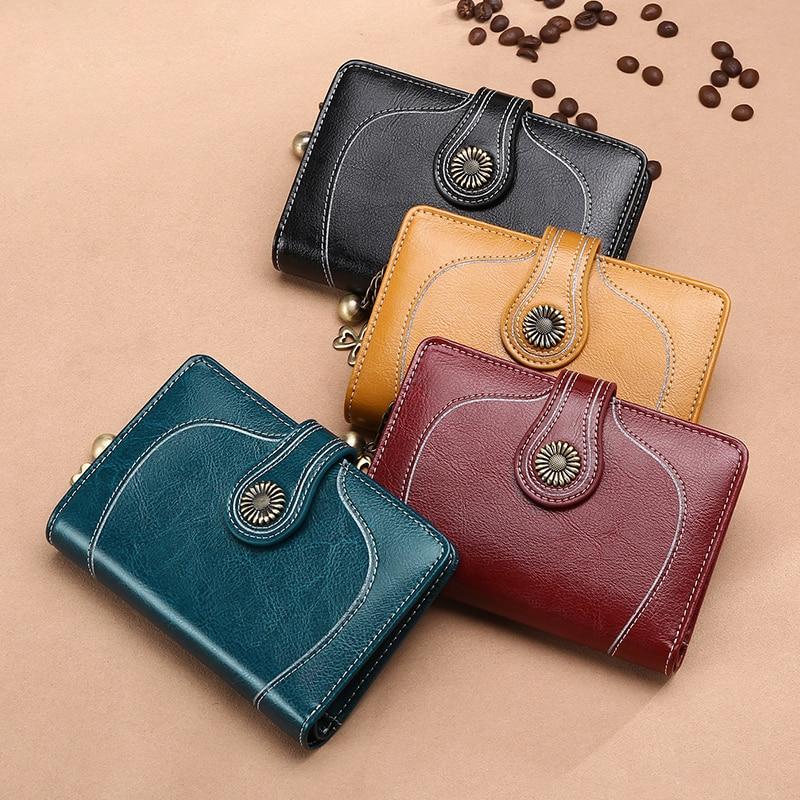 New Small Purse Women Split Leather Short Wallet Female Fashion Brand Coin Purse