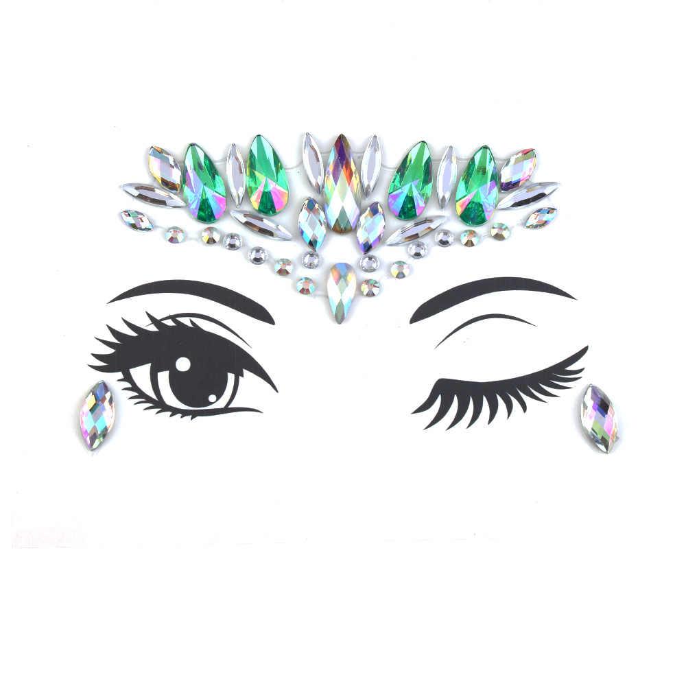 2018 Fashion BoHo Crystal Stiker untuk Wanita Gadis Suku Gaya Wajah Mata Perhiasan Stiker Alis Tubuh Perhiasan