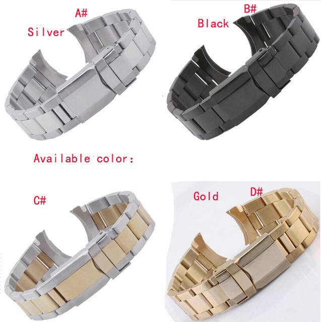 Frete grátis faixa de relógio 20 mm prata / ouro de aço inoxidável sólido Links pulseiras Strap pulseiras final curvo Fro Mens Wristwatchs