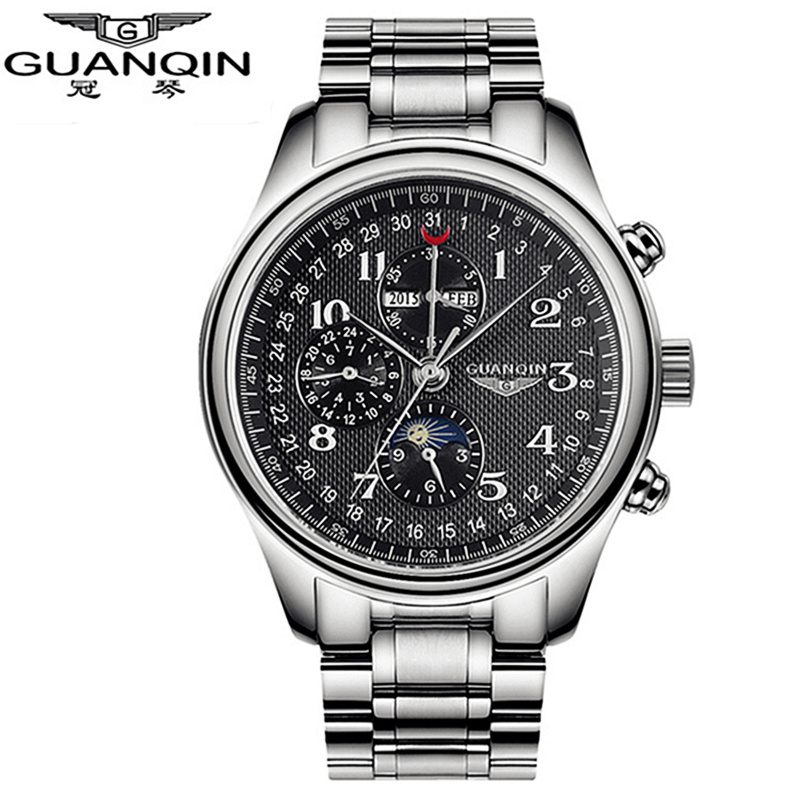 GUANQIN Multi Function Automatic Mechanical font b Watches b font Men To Brand Luxury Waterproof font