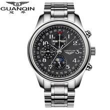GUANQIN Multifunción Mecánico Automático Relojes Hombres Marca de Lujo Impermeable Negocio de la Moda Reloj Reloj Fase Lunar